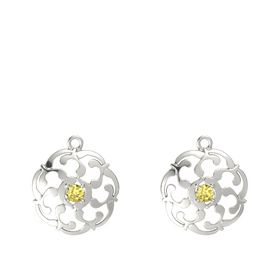 14K White Gold Earring with Yellow Sapphire