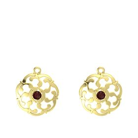 14K Yellow Gold Earring with Red Garnet