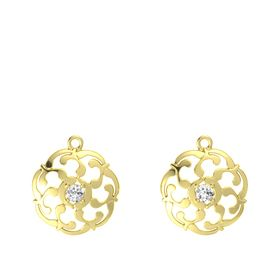 14K Yellow Gold Earrings with White Sapphire