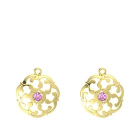 14K Yellow Gold Earrings with Pink Sapphire