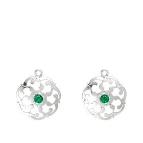 Sterling Silver Earrings with Emerald