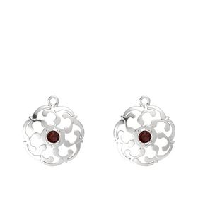 Sterling Silver Earrings with Red Garnet