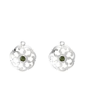 Sterling Silver Earrings with Green Tourmaline