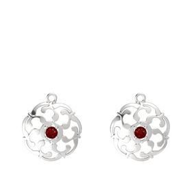 Sterling Silver Earrings with Ruby