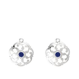 Sterling Silver Earring with Blue Sapphire