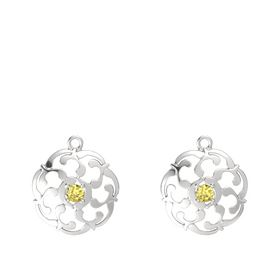 Sterling Silver Earrings with Yellow Sapphire