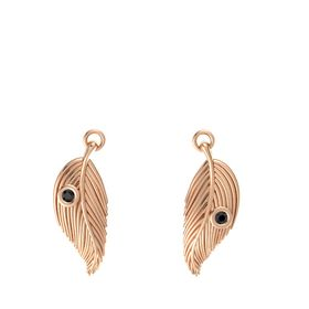 14K Rose Gold Earrings with Black Diamond