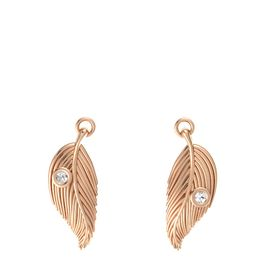 14K Rose Gold Earrings with Rock Crystal