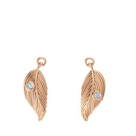 14K Rose Gold Earring with Aquamarine
