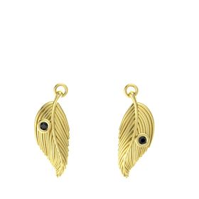 14K Yellow Gold Earrings with Black Diamond