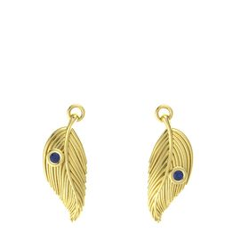 14K Yellow Gold Earring with Blue Sapphire