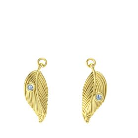 14K Yellow Gold Earrings with Blue Topaz