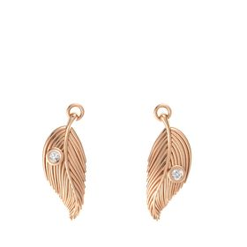 18K Rose Gold Earring with White Sapphire