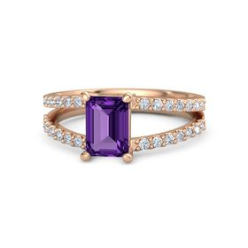 Emerald-Cut Amethyst 14K Rose Gold Ring with Diamond