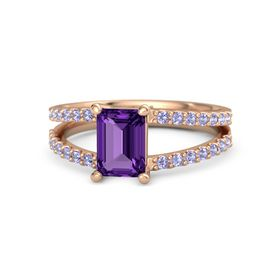 Emerald-Cut Amethyst 14K Rose Gold Ring with Tanzanite