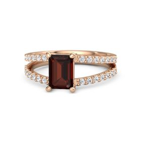 Emerald Red Garnet 14K Rose Gold Ring with White Sapphire