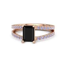 Emerald Black Onyx 14K Rose Gold Ring with Tanzanite