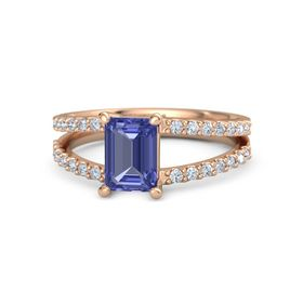 Emerald-Cut Tanzanite 14K Rose Gold Ring with Diamond