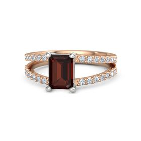 Emerald Red Garnet 14K Rose Gold Ring with Diamond