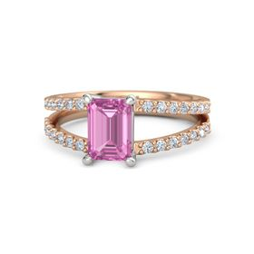 Emerald Pink Sapphire 14K Rose Gold Ring with Diamond