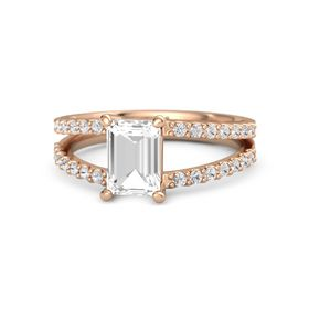 Emerald Rock Crystal 14K Rose Gold Ring with White Sapphire