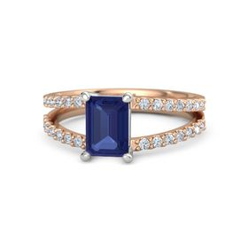 Emerald Blue Sapphire 14K Rose Gold Ring with Diamond