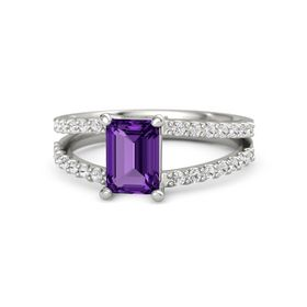 Emerald-Cut Amethyst 14K White Gold Ring with White Sapphire