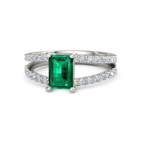 Emerald Cut Emerald 14K White Gold Ring with Diamond