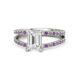 Emerald White Sapphire 14K White Gold Ring with Amethyst and Rhodolite Garnet