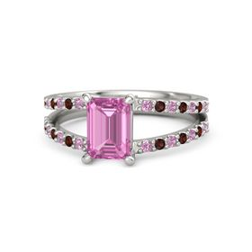 Emerald Pink Sapphire 14K White Gold Ring with Pink Tourmaline and Red Garnet