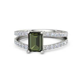 Emerald-Cut Green Tourmaline 14K White Gold Ring with Diamond