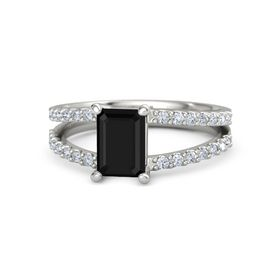 Emerald-Cut Black Onyx 14K White Gold Ring with Diamond