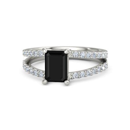 Emerald-Cut Black Onyx 14K White Gold Ring with Diamond ...