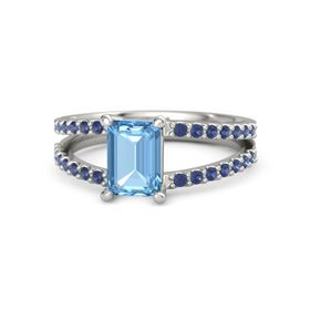 Emerald-Cut Blue Topaz 14K White Gold Ring with Sapphire
