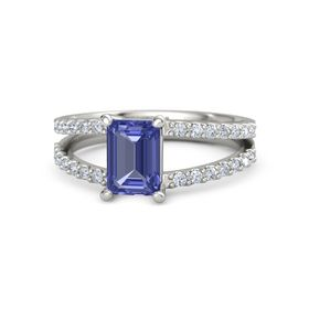Emerald-Cut Tanzanite 14K White Gold Ring with Diamond