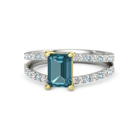 Emerald London Blue Topaz 14K White Gold Ring with White Sapphire and Aquamarine