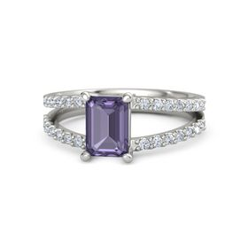 Emerald-Cut Iolite 14K White Gold Ring with Diamond