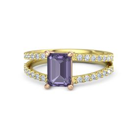 Emerald Iolite 14K Yellow Gold Ring with Diamond