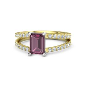 Emerald Rhodolite Garnet 14K Yellow Gold Ring with Diamond