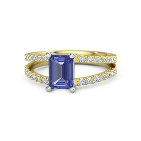 Emerald-Cut Tanzanite 14K Yellow Gold Ring with Diamond