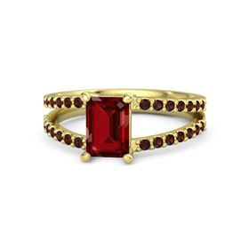 Emerald-Cut Ruby 14K Yellow Gold Ring with Red Garnet