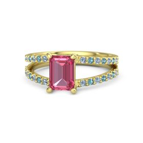 Emerald Pink Tourmaline 14K Yellow Gold Ring with Blue Topaz and London Blue Topaz