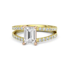 Emerald White Sapphire 14K Yellow Gold Ring with Diamond