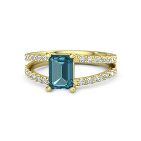 Emerald London Blue Topaz 14K Yellow Gold Ring with Diamond