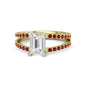 Emerald White Sapphire 14K Yellow Gold Ring with Ruby