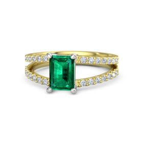 Emerald-Cut Emerald 14K Yellow Gold Ring with Diamond