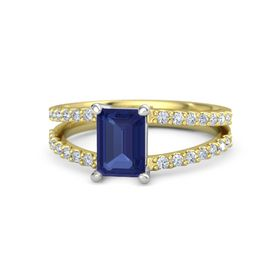 Emerald Blue Sapphire 14K Yellow Gold Ring with Diamond