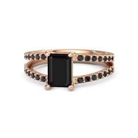 Emerald Black Onyx 18K Rose Gold Ring with Black Diamond