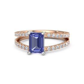Emerald Tanzanite 18K Rose Gold Ring with Diamond