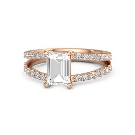 Emerald Rock Crystal 18K Rose Gold Ring with Diamond